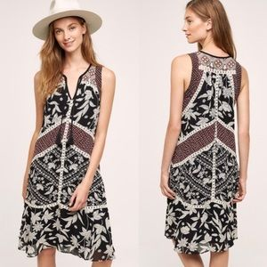 Anthropologie Sleeveless Embroidered Dress